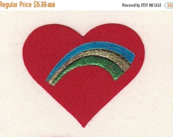 ON SALE Rare Vintage Satin Scarlet Heart with Embossed Rainbow Sticker - 80's Puffy Fabric Crimson Gold Turquoise Teal