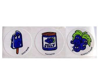 SALE Vintage CTP Scratch and Sniff Grape Popsicle and Jam Stickers 80's