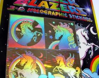 SALE Unicorn Hologram Rare Vintage Lazer Blazers Stickers - 80's Fantasy Holographic Collectible Colorforms - New in Package