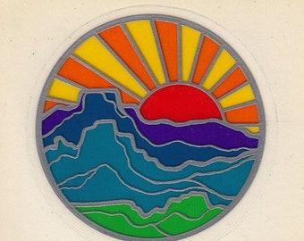SALE Rare Vintage Illuminations Sunstreamer Transparent Mountain Sunset Sticker - 80's Retro Metallic Silver Scrapbook Collectible