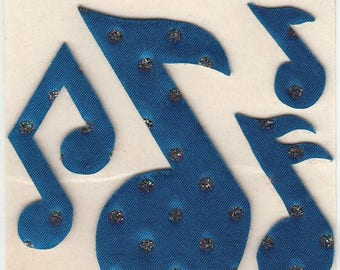 SALE Satin Music Notes Vintage June Kressler Silver Glitter Sticker Mod - 80's Cobalt Cerulean Azure Lapis Blue Musical Note Clef