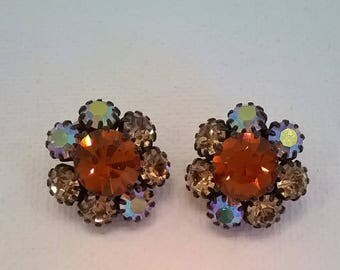 Sparkling Vintage Rhinestone Earrings - Burnt Orange Center RS Surrounded by Light Brown Aurora Borealis RS - AB Clip Fall Winter Earrings