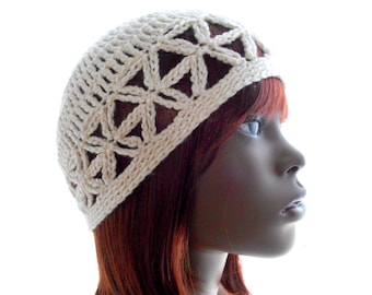 Pearl Ivory Juliet Cap, Women's Crochet Hat, Bamboo-Silk Hat, Eco Fashion, Small to Large Size