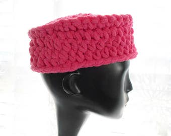 Rose Pink Chenille Hat, Pillbox Hat for Women, Medium Size