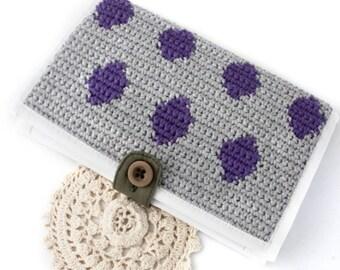Fabric Wallet - Minimalist Wallet - Polka Dot Wallet - Wallet - Travel Wallet - Women's Wallet - Vegan Wallet - Crochet Wallet