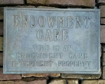 """Vintage Brass Cemetery """"Endowment Care Interment Property"""" Wall Mount Plaque Sign"""