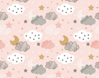 Starry Night Pink from Blend Fabric's Sweet Dreams Collection by Maude Asbury - 100% Cotton