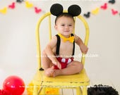 Mickey Mouse Birthday cake smash outfit FREE ears Suspenders diaper Cover yellow bowtie boy clubhouse photo prop 9 12 18 24 toddler SALE