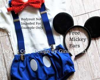 Nautical Birthday cake smash outfit Captain Mickey Mouse suspenders boy sailor diaper cover royal sequin bow tie FREE EARS 12 18 24 toddler