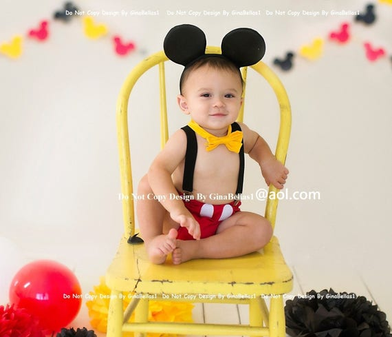 mickey mouse smash cake outfit mickey mouse birthday cake smash free ears suspenders 5889