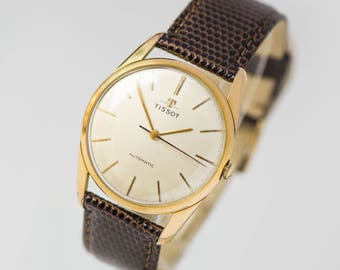 Wristwatch TISSOT for men, self winding watch cal 783, gold plated AU 20 watch, luxury men Swiss made watch, best brand watch classical