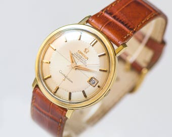 Luxury men wristwatch Omega CONSTELLATION, automatic chronometer watch cal 561, gold plated Swiss watch, best watch men, leather strap new