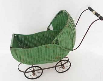 Antique Green Metal Baby Carriage Nursery Decor Store Display Movie Prop Rare Apple Green Metal 1930  Carriage Antique Baby Buggy