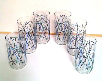 70s Atomic Drinking Glasses - Set of 6 - Four 16 oz - Two 8 oz - Blue, Aqua & Black Abstract Design - Vintage Table Ware