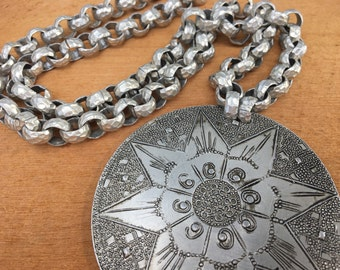 Vintage 1950s Aluminum Necklace with Hanmered Aluminum Chain and Large Pendant
