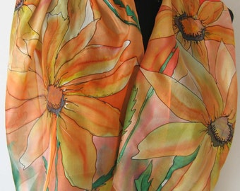 Sunny yellow, orange and pink silk scarf. Hand painted scarf. Floral painted silk scarf. Art silk scarf. Christmas gift