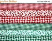 SHOP CLOSING SALE Christmas Fat Quarter Fabric Bundle for quilt or craft Red and Green Fabric 6 Fat Quarters
