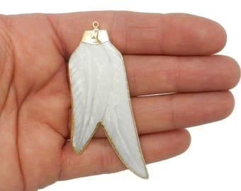 Shelll Double Feather Pendant with 24k Gold Trim Plated and Cap - Mother of Pearl Feathers - ONE of a KIND (G-916)