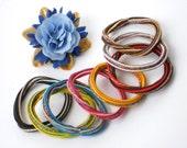 """De-Stash Pony Tail holders - Scrunchie Hair Elastic Set - Ponytail Elastics DESTASH SALE - Rainbow Bracelet Elastic & Party Favors - Set """"B"""""""