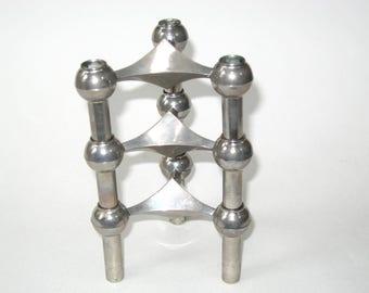 Set 3 Mid Century NAGEL Modular Sculptural Atomic Stacking Candle Holders Silver Tone