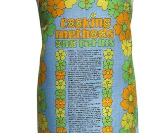 Metro Retro COOKING METHODS And Terms Vintage Tea Towel Kitchen Apron. - Birthday Mother's Day Gift Idea . Ooak