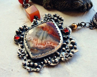 Sterling Silver Mexican Crazy Lace Agate and Hessonite Garnet Necklace With Aventurine and Orange Jade Beads