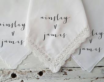 Wedding Handkerchief Set of 10.  Handkerchief your choice of COLOR TEXT. Mother of the Bride. Second Line Hanky.