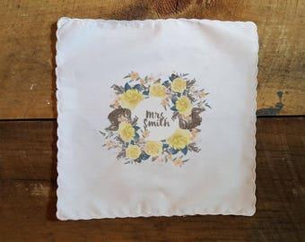Printed Wedding Handkerchief for the Bride or Bride to Be. Wedding Handkerchief.  Printed Hanky