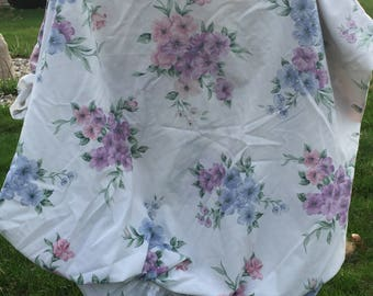 Vintage, floral sheet, full fitted, purple, pink, blue flowers, bedding, linens, fabric, fitted sheet, vintage sheet, floral fitted sheet