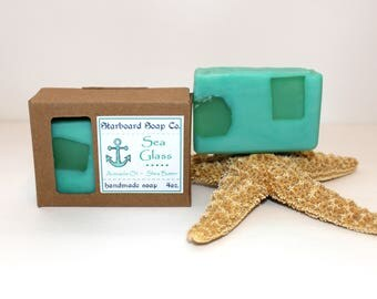 Sea Glass Handmade Soap - Artisan Soap - Nautical Soap - Ocean Soap - Avocado Oil - Shea Butter