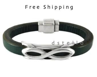 Custom mens leather bracelet, Infinity bracelet, Eternity bracelet, Mens gift idea, Birthday, Anniversary, Masculine, Spanish leather