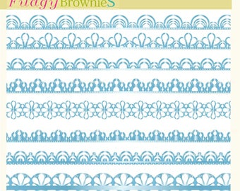 ON SALE, Blue ribbon lace border clipart, digital scrapbooking borders, Blue ribbon border clip art, wedding supplies
