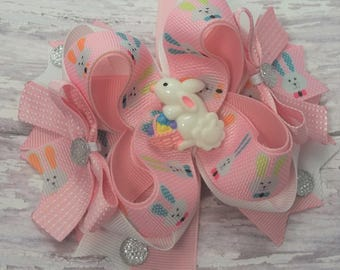 Pink Easter Bunny Hair Bow, Handmade Hair Bows, Easter Hair Accessories, Easter Hair Clips, Boutique Hair Bows, Girls Hair Bows
