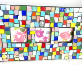 Tri-Picture Multi-Color Stained Glass MOSAIC Frame