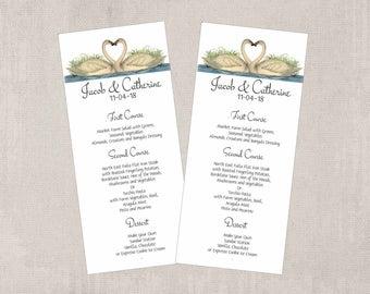 Swan Menus,  Set of 10, Wedding Menus, Tea Length Menu, Dinner Menu, Banquet Menu, Blue white, Swan Wedding Menu Cards,  SW109