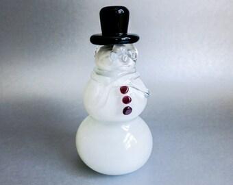 Swedish Crystal Snowman by Ronneby - Art Glass Snowman - Minimalist Winter or Modern Christmas Decor - White Christmas Decoration