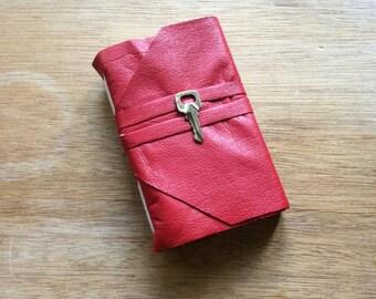 Red Leather Mini Pocket Journal-Vintage Brass Key-Handmade Travel Journal-Gift Idea