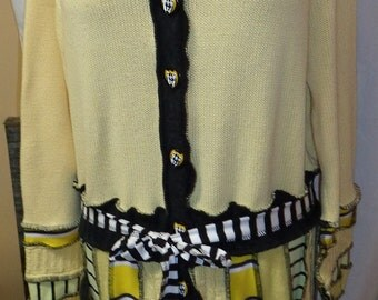 Large  to XL hooded elf coat of upcycled sweaters in Hufflepuff colors ready to ship