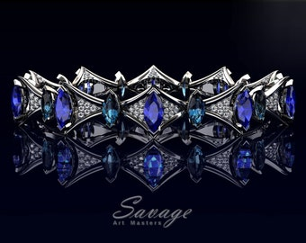 Savage 14K White Gold 10.0 Ct Marquise Blue Sapphire 5.0 Ct Blue Topaz Diamond Art Nouveau Bridal Bracelet R438B-14KWGDBTBS