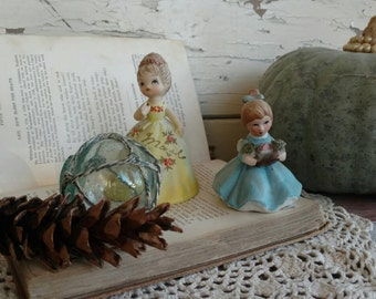 Vintage Hand Painted Porcelain Spring Flower Figurines - Antique Little Girl Statues, Retro Kids Room Decor, Nursery Whimsy, Spring Decor