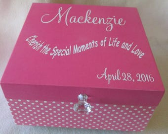 Large Memory Box - Girl's Keepsake Box -  Pink Polka Dot Keepsake Box- Storage Box - Personalized - Gift