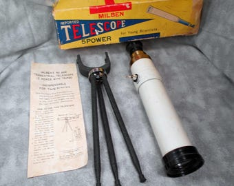 Vintage Milben Telescope with Tripod and Original Box and papers Young Scientists