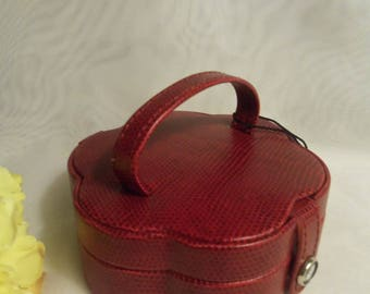 CUTE Unique Women's Vintage NEVER USED Red Leather Jewelry Travel Case Mini Suitcase Purse Bag Box- Birthday Gift Her Mother Mom Teen Bride