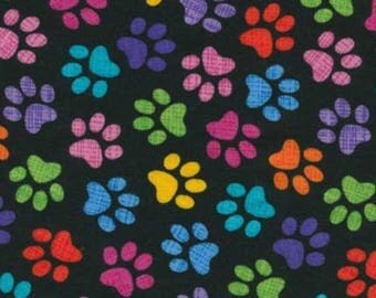 Paw Print Fabric by the yard - Timeless Treasures C9328 Black