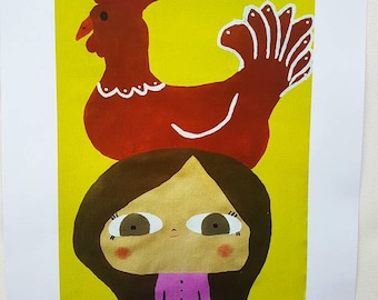 A4 Print of Brunette Girl with Res Chicken on Top of Head