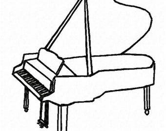 Piano Machine Embroidery Design - Instant Download