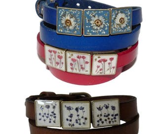 Double leather Bracelet Brown red blue leather wrap bracelet with Dry flowers resin Women's jewelry on etsy shop