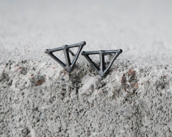 TAIKA Earrings Sterling Silver Oxidized Recycled Silver Studs, Wild & Arrow