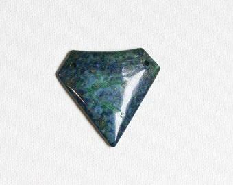 Blue Lapis and Malachite Pendant Bead, Shield Cut