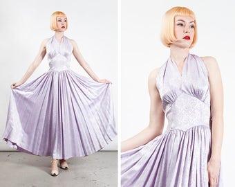 Vintage 1950s Lilac Brocade Marilyn Monroe Style Halter Dress